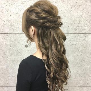 ゆるふわ ロング ヘアアレンジ ハーフアップ ヘアスタイルや髪型の写真・画像
