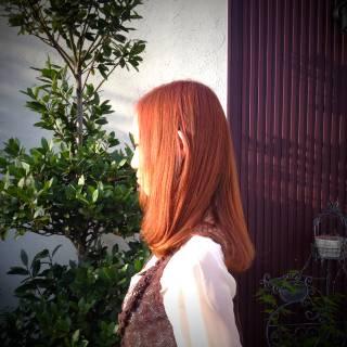 モテ髪 愛され ナチュラル オレンジ ヘアスタイルや髪型の写真・画像