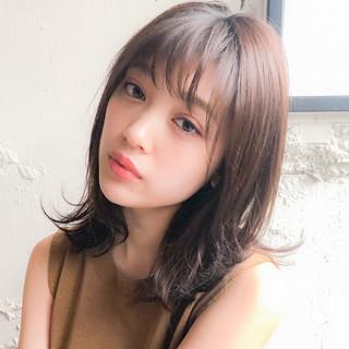 ミディアム ミルクティーベージュ デジタルパーマ 毛先パーマ ヘアスタイルや髪型の写真・画像