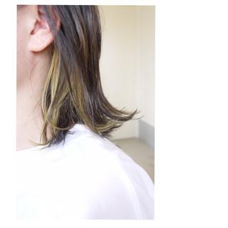 ナチュラル ボブ ダブルカラー インナーカラー ヘアスタイルや髪型の写真・画像
