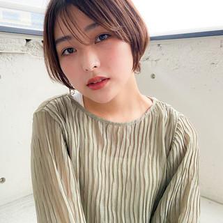 アンニュイほつれヘア 小顔ショート ナチュラル ショートボブ ヘアスタイルや髪型の写真・画像