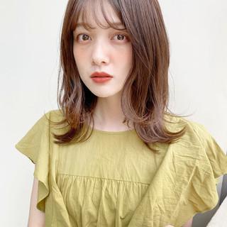 ミディアムレイヤー 鎖骨ミディアム レイヤー レイヤーカット ヘアスタイルや髪型の写真・画像