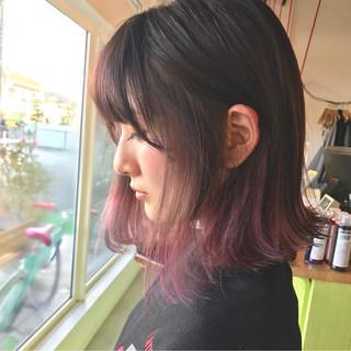 大人かわいい ピンク ボブ 前髪あり ヘアスタイルや髪型の写真・画像