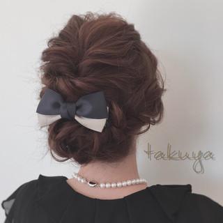 くるりんぱ 結婚式 編み込み ヘアアレンジ ヘアスタイルや髪型の写真・画像