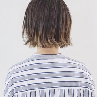 ボブ ハイライト グラデーションカラー バレイヤージュ ヘアスタイルや髪型の写真・画像