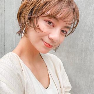 ハイライト デジタルパーマ ショート ショートボブ ヘアスタイルや髪型の写真・画像