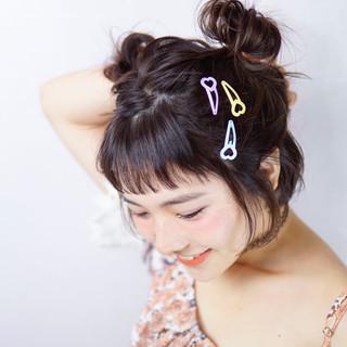 ハーフアップ お団子 簡単ヘアアレンジ ボブ ヘアスタイルや髪型の写真・画像