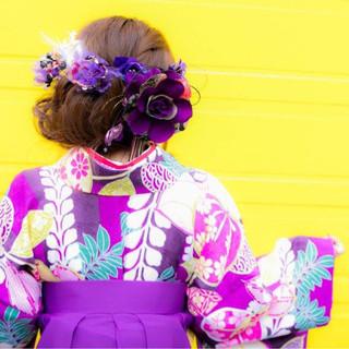 謝恩会 着物 成人式 ヘアアレンジ ヘアスタイルや髪型の写真・画像
