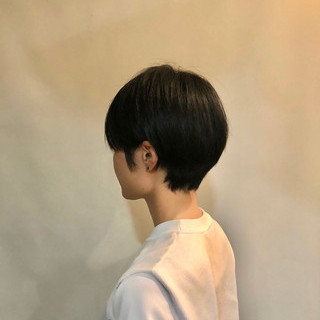 モード 黒髪 ショート シンプル ヘアスタイルや髪型の写真・画像