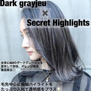 ミディアム グラデーションカラー バレイヤージュ ハイライト ヘアスタイルや髪型の写真・画像