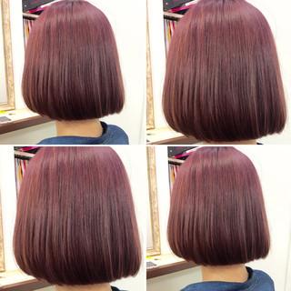 ピンク 爽やか ボブ 透明感 ヘアスタイルや髪型の写真・画像