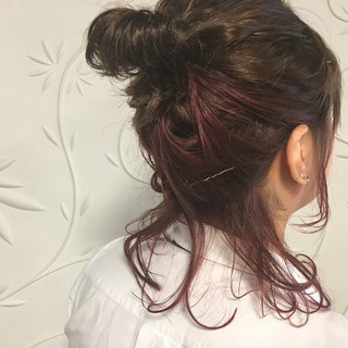簡単ヘアアレンジ ショート ラベンダーピンク ミディアム ヘアスタイルや髪型の写真・画像