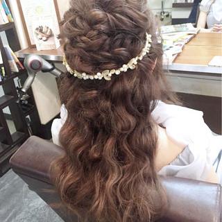 ハーフアップ 結婚式 ロング 夏 ヘアスタイルや髪型の写真・画像