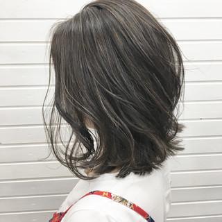 外国人風 ボブ ウェットヘア ハイライト ヘアスタイルや髪型の写真・画像