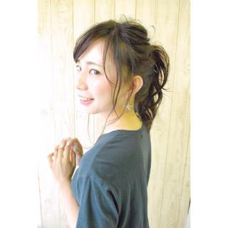 ヘアアレンジ ポニーテール セミロング ウェットヘア ヘアスタイルや髪型の写真・画像