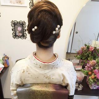 アップスタイル 着物 ヘアアレンジ セミロング ヘアスタイルや髪型の写真・画像
