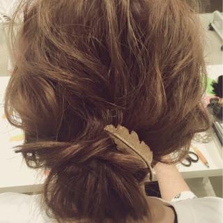 ヘアアレンジ ゆるふわ まとめ髪 ミディアム ヘアスタイルや髪型の写真・画像