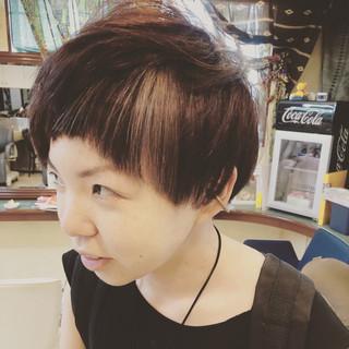 パープル 坊主 ショート ハイライト ヘアスタイルや髪型の写真・画像