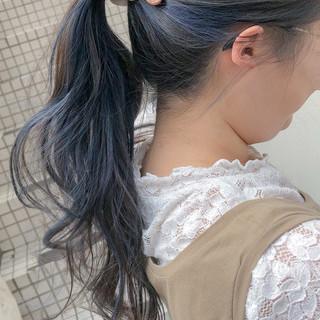 セミロング ナチュラル インナーカラー 簡単ヘアアレンジ ヘアスタイルや髪型の写真・画像