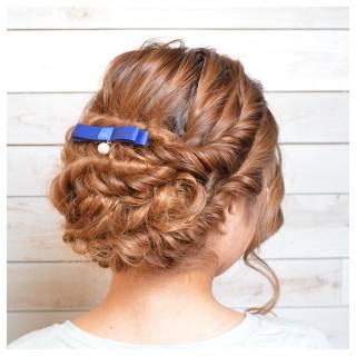 編み込み アップスタイル パーティ ヘアアレンジ ヘアスタイルや髪型の写真・画像
