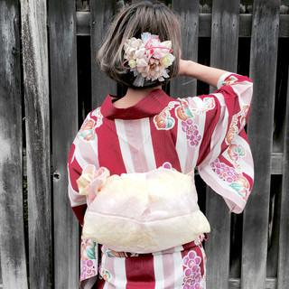 ヘアアレンジ ボブ 和装 お祭り ヘアスタイルや髪型の写真・画像