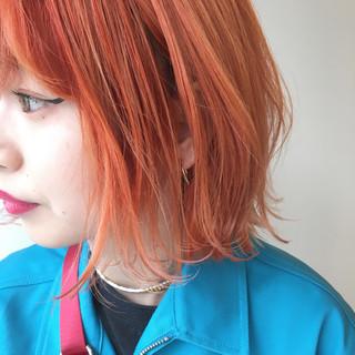 抜け感 ストリート オレンジベージュ スポーツ ヘアスタイルや髪型の写真・画像
