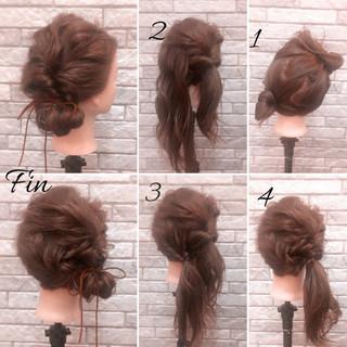 簡単ヘアアレンジ 春 ナチュラル くるりんぱ ヘアスタイルや髪型の写真・画像