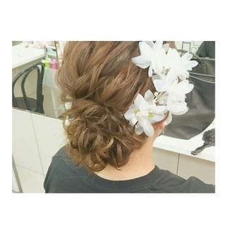 ヘアアレンジ 涼しげ ガーリー ミディアム ヘアスタイルや髪型の写真・画像