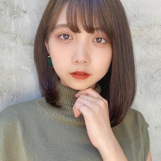 デジタルパーマ 縮毛矯正 ミディアムレイヤー ストレート ヘアスタイルや髪型の写真・画像