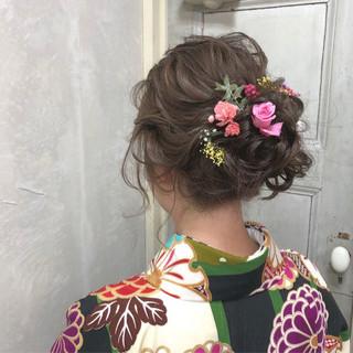 成人式 結婚式 ヘアアレンジ セミロング ヘアスタイルや髪型の写真・画像