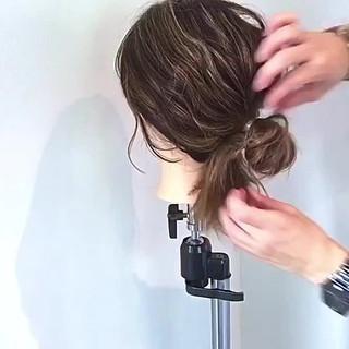 お団子 キャップ デート ヘアアレンジ ヘアスタイルや髪型の写真・画像