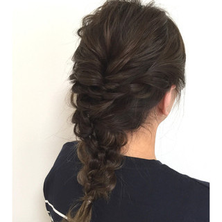 ヘアアレンジ デート セミロング 簡単ヘアアレンジ ヘアスタイルや髪型の写真・画像