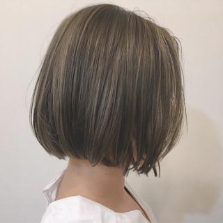 透明感 ボブ ベージュ 秋 ヘアスタイルや髪型の写真・画像