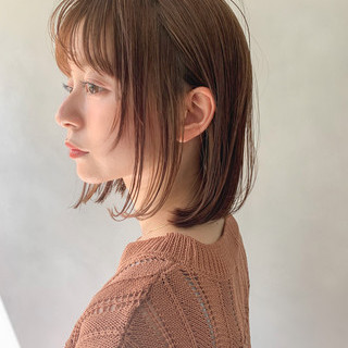 アンニュイほつれヘア 前髪あり ナチュラル ミニボブ ヘアスタイルや髪型の写真・画像