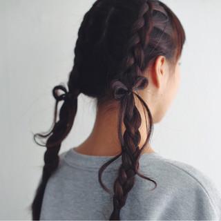 ヘアアレンジ ロング ガーリー ツインテール ヘアスタイルや髪型の写真・画像