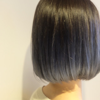 モード ブルージュ グラデーションカラー ネイビーアッシュ ヘアスタイルや髪型の写真・画像