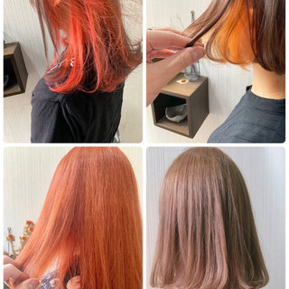 簡単ヘアアレンジ オレンジブラウン ナチュラル インナーカラーオレンジ ヘアスタイルや髪型の写真・画像