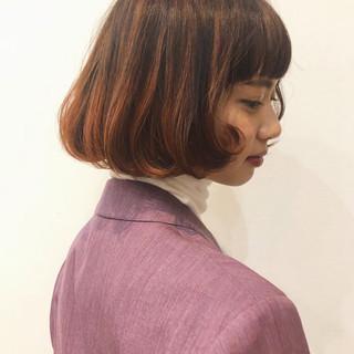 グラデーション ボブ ハイライト フェミニン ヘアスタイルや髪型の写真・画像