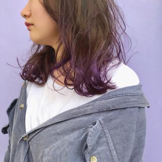 デザインカラー 裾カラー セミロング ヘアアレンジ ヘアスタイルや髪型の写真・画像