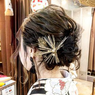 袴 着物 セミロング 卒業式 ヘアスタイルや髪型の写真・画像