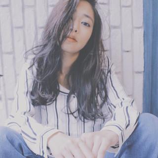 ロング ストリート アッシュ 暗髪 ヘアスタイルや髪型の写真・画像