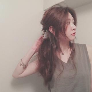 ポニーテール くるりんぱ ヘアアレンジ ゆるふわ ヘアスタイルや髪型の写真・画像
