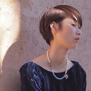 暗髪 ショート モード ウェットヘア ヘアスタイルや髪型の写真・画像