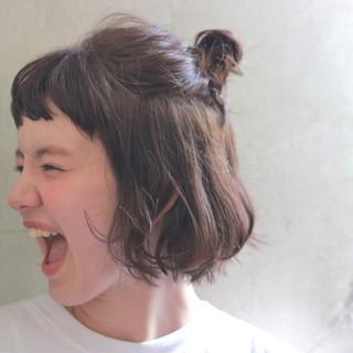 ヘアアレンジ 簡単ヘアアレンジ 前髪あり ボブ ヘアスタイルや髪型の写真・画像