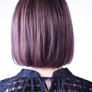 ラベンダーグレージュ ボブ ラベンダーピンク ラベンダー ヘアスタイルや髪型の写真・画像