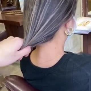 コントラストハイライト ショートヘア 大人ハイライト ボブ ヘアスタイルや髪型の写真・画像