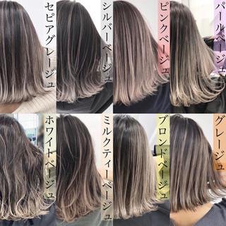 ピンクベージュ ストリート バレイヤージュ ミディアム ヘアスタイルや髪型の写真・画像