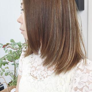 メッシュ 透明感 秋 ハイライト ヘアスタイルや髪型の写真・画像