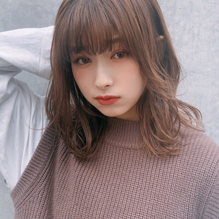 デジタルパーマ 大人かわいい ミディアム デート ヘアスタイルや髪型の写真・画像