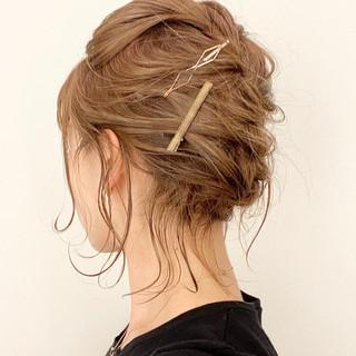 ミディアム 編み込みヘア ヘアアレンジ 簡単ヘアアレンジ ヘアスタイルや髪型の写真・画像